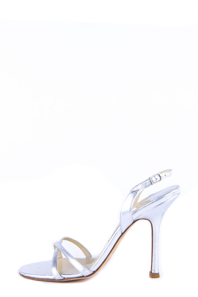 Jimmy Choo Silver Leather Slingback Strappy Sandals New Size 9 | EU 39 - OWN THE COUTURE