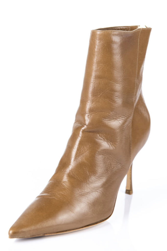 3ee00321674a ... Jimmy Choo Tan Leather Pointed Toe Ankle Boots Size 9 | EU 39 - OWN THE  ...