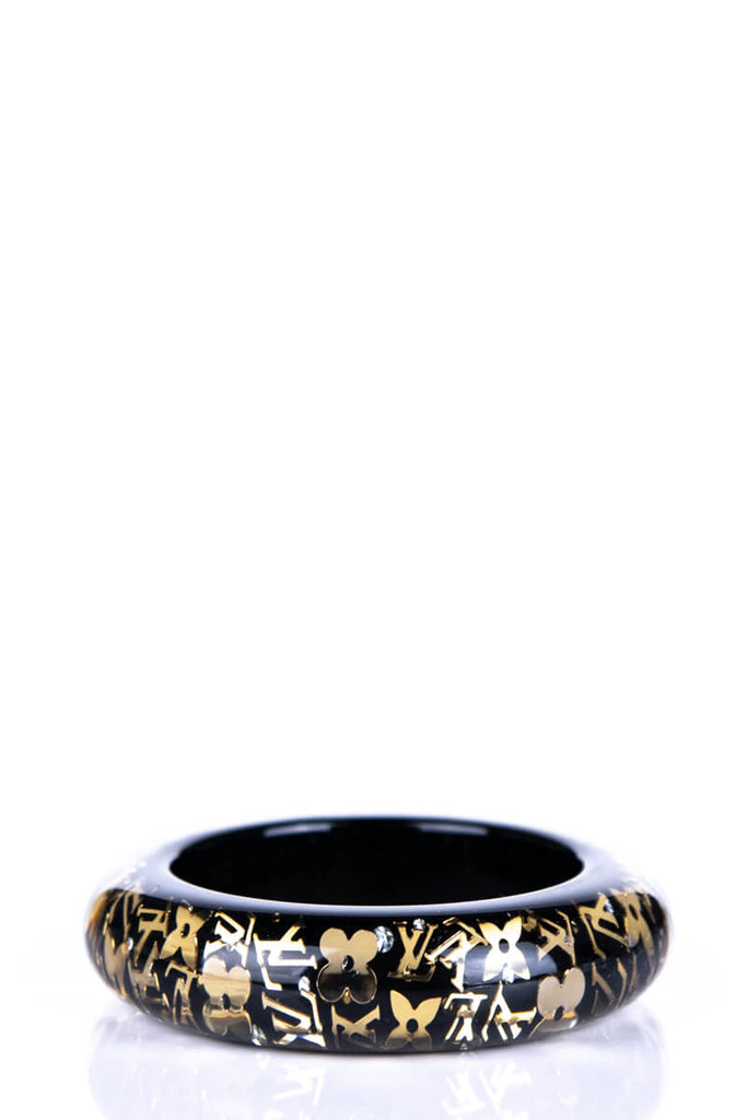 Louis Vuitton Black and Gold Wide Inclusion Bangle - OWN THE COUTURE