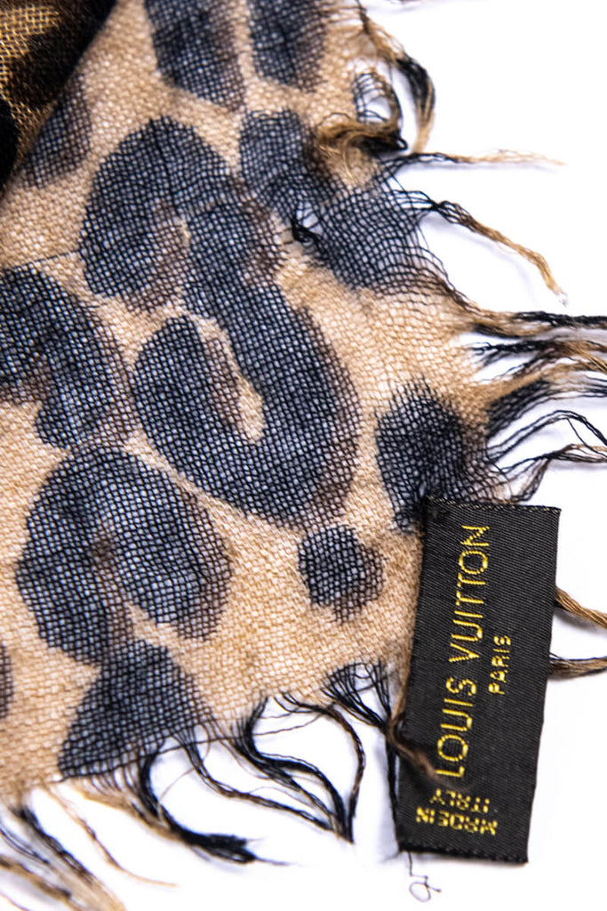Louis Vuitton Brown Cashmere and Silk Graffiti Leopard Shawl - OWN THE COUTURE