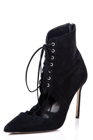 8195173759ce Manolo Blahnik Black Suede Lace Up Ankle Boot Size 8.5