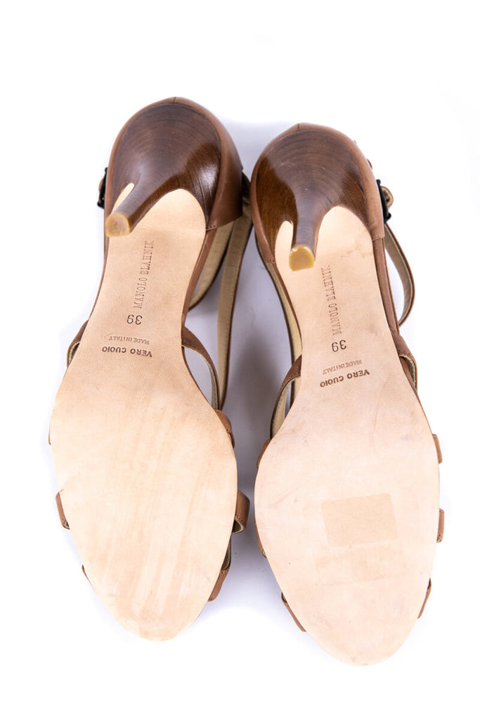 Manolo Blahnik Tan Leather Strappy Sandals New Size 9 | IT 39 - OWN THE COUTURE