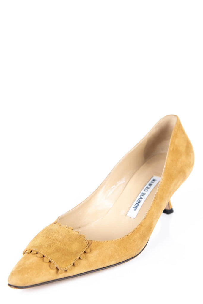 Manolo Blahnik Tan Suede Kitten Heel Pumps Size 9 | EU 39 - OWN THE COUTURE
