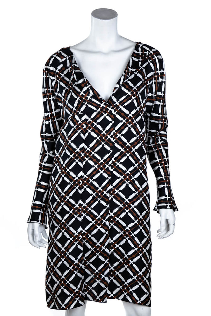 732cec7b228 ... Marni Brown and Black Silk Graphic Print Dress Size S | IT 42 - OWN THE  ...