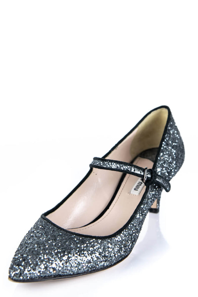 2ee6111428 ... Miu Miu Glitter Kitten Heel Mary Jane Pumps Size 7.5 | EU 37.5 - OWN  THE ...