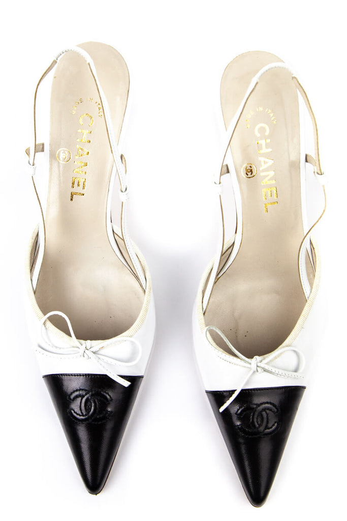 Chanel Black And White Logo Cap Toe Sling Back Pumps Size 9 | IT 39 [20% OFF] - OWN THE COUTURE
