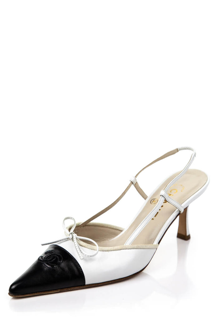3851b5df24 ... Chanel Black And White Logo Cap Toe Sling Back Pumps Size 9 | IT 39 ...