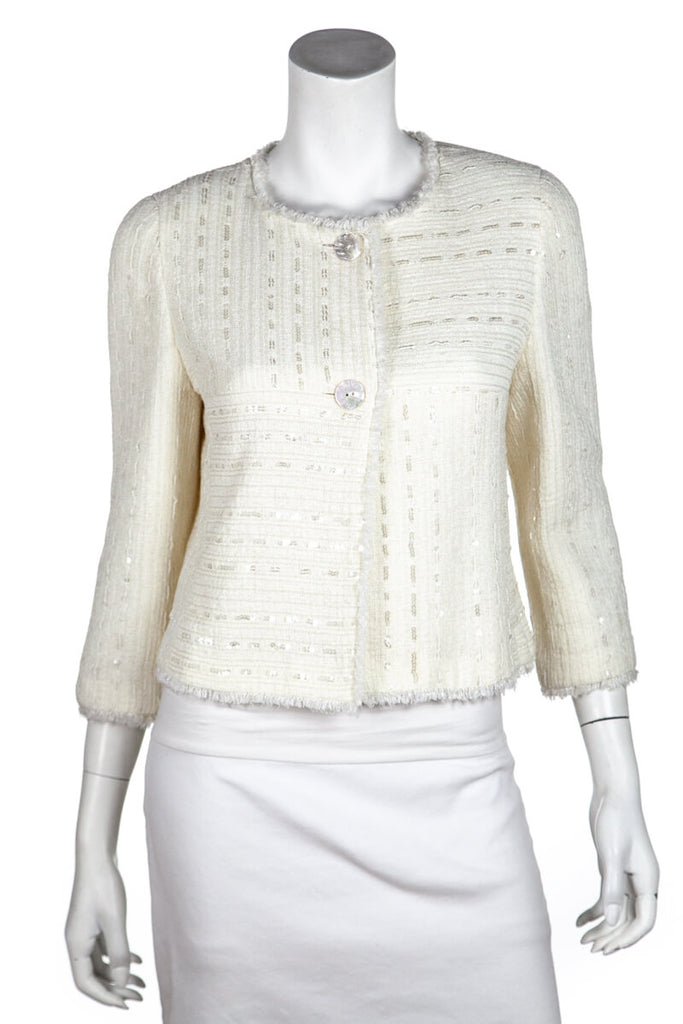 2b22037ef ... Chanel Ivory Tweed Sequin Cruise 2000 Jacket Size M   FR 40 - OWN THE  COUTURE ...