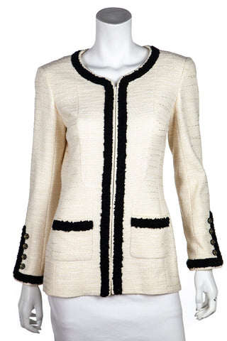 a8feb0f728 Chanel Ivory and Black Trimmed Tweed Spring 2002 Zip Jacket Size M   FR 40.  $925.00. Barbara Bui ...