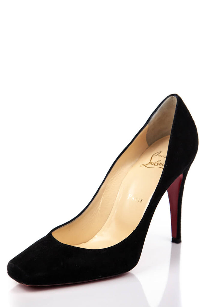 e0afa44e77c1 ... Christian Louboutin Black Suede Square Toe Pumps Size 9