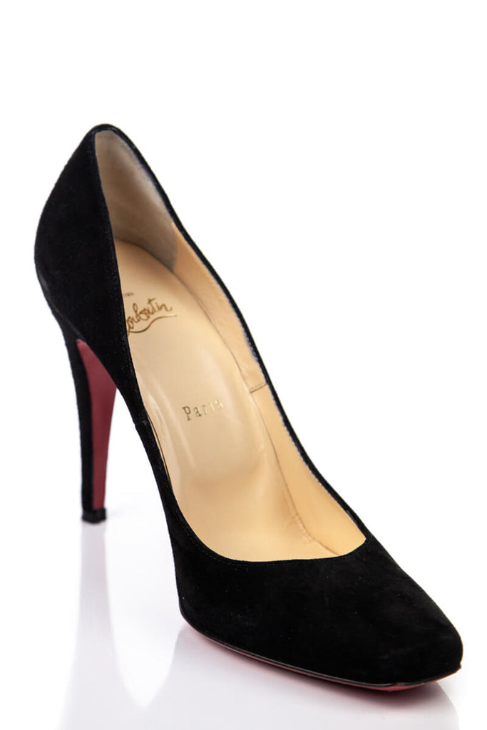 best service feea8 c18f7 Christian Louboutin Black Suede Square Toe Pumps Size 9 | IT 39 [20% OFF]