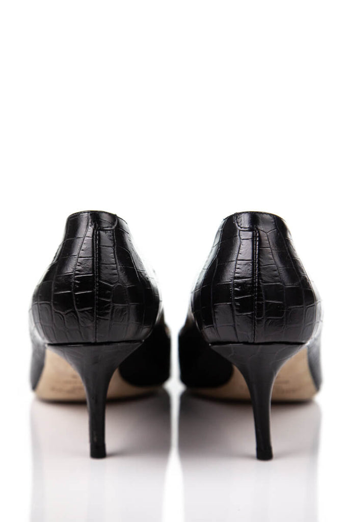 Jimmy Choo Black Croc Embossed Cutout Black Pumps Size 8.5 | IT 38.5 [20% OFF] - OWN THE COUTURE