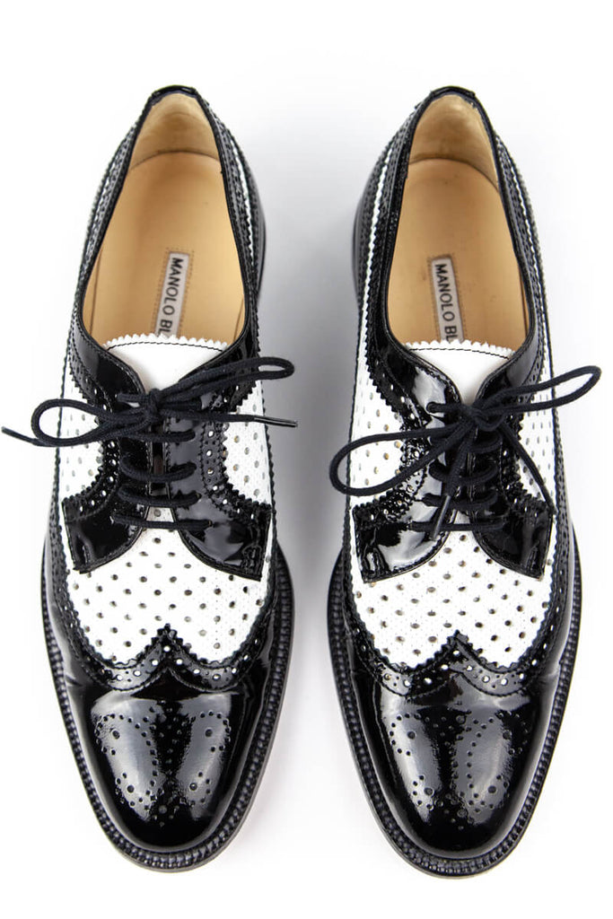 Manolo Blahnik Black And White Leather Brogues Size 10 | IT 40 - OWN THE COUTURE