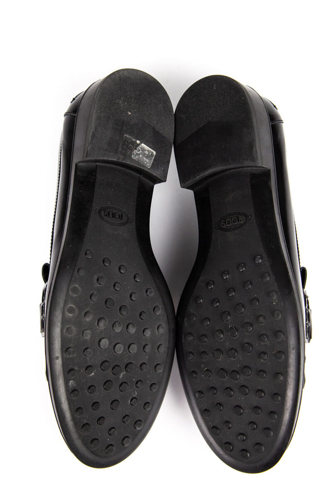 Tod's black and white leather Double T Kiltie fringe loafers Size 6 | IT 36 - OWN THE COUTURE