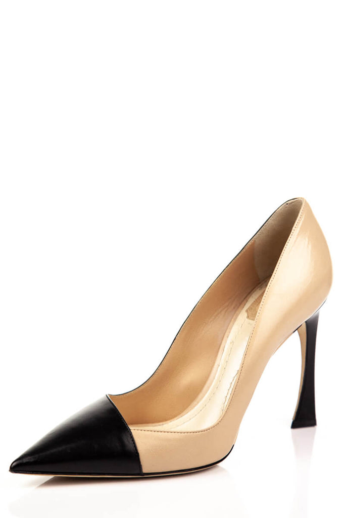 ... Christian Dior Black and Beige Songe Cap Toe Pumps Size 9