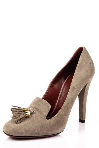 df9db98f794 Gucci Taupe Suede Tassel Pumps New Size 8