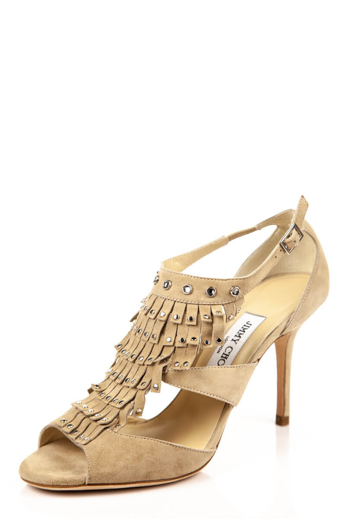 cd812c0e0 ... Jimmy Choo Beige Suede Fringe Sandals New Size 8.5 | EU 38.5 - OWN THE  COUTURE ...