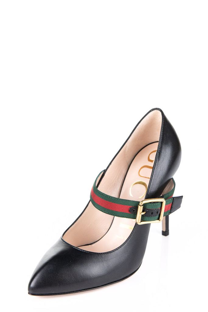 7b69d202c ... Gucci black Sylvie Mary Jane web 2018 pumps Size 5.5 | EU 35.5 - OWN  THE ...