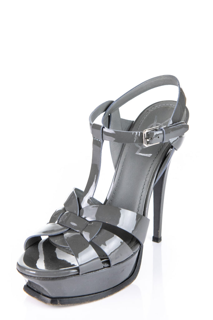 bd23554b54 ... Yves Saint Laurent grey patent Tribute platform sandals Size 8 | EU 38  - OWN THE ...