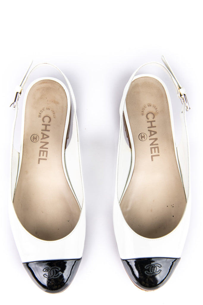 Chanel black and white cap toe sling back flats Size 6.5 | EU 36.5 - OWN THE COUTURE