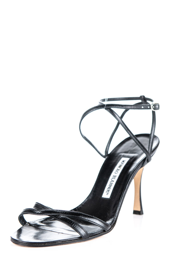 Manolo Blahnik black leather strap sandals Size 9 | EU 39 - OWN THE COUTURE