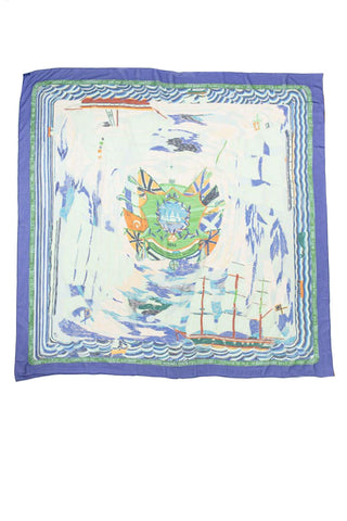 "Hermès Ivory and Light Blue Silk ""Neiges d'Antan"" Scarf"