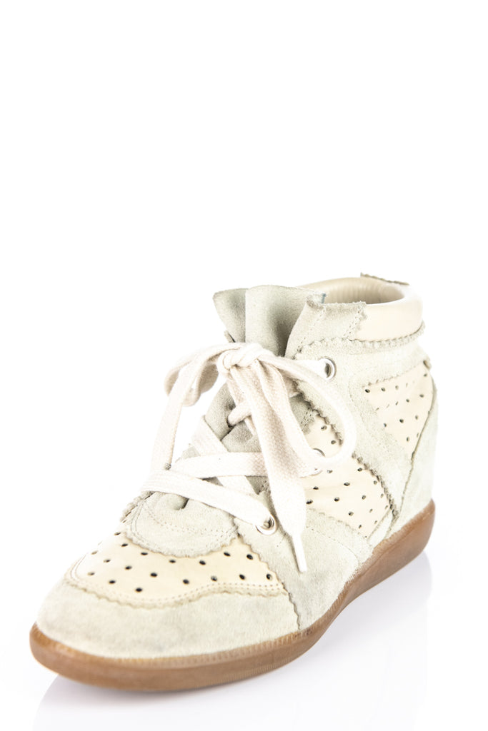 5ee6456f7e8f ... Isabel Marant Beige Suede Bobby Wedge Sneakers Size 6