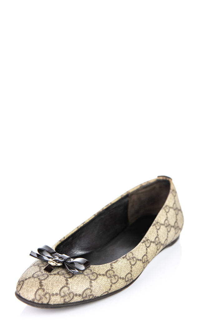 Gucci Beige GG Monogram Flats Size 8.5 | IT 38.5 - OWN THE COUTURE