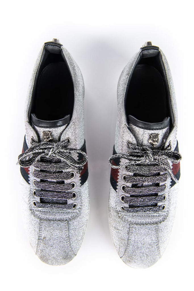 Gucci Silver Glitter Bambi Web Sneakers Size 8.5 | IT 38.5 - OWN THE COUTURE