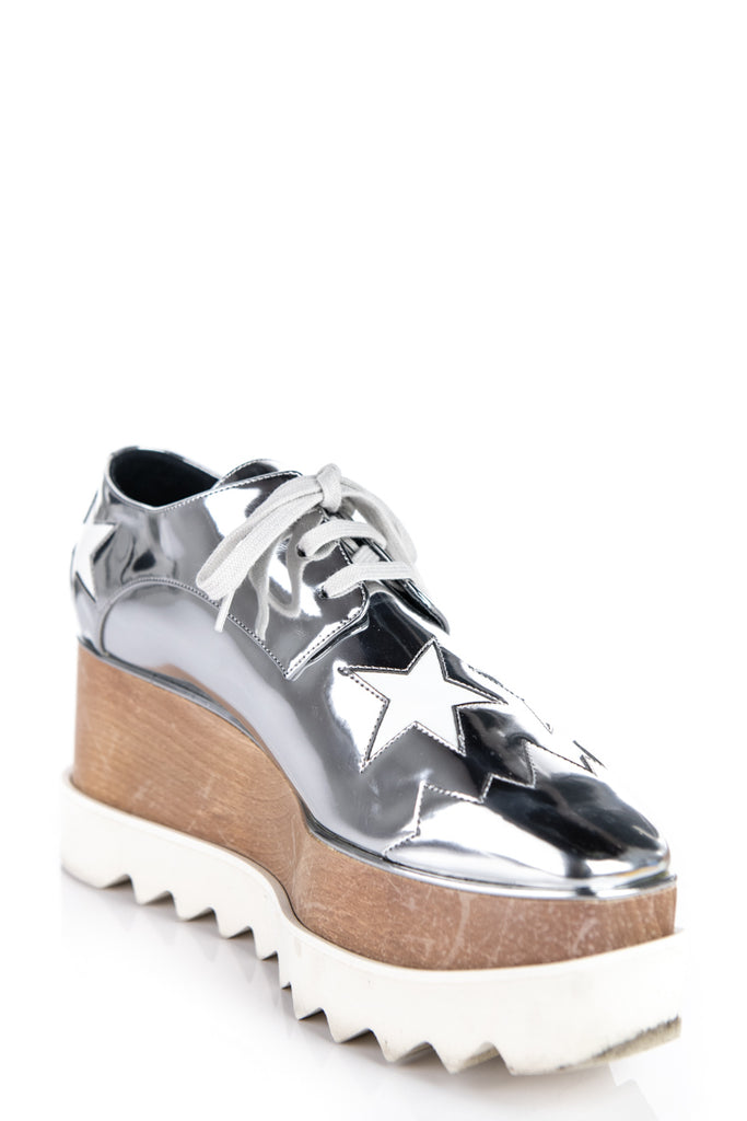 Stella McCartney Silver Vegan Leather Star Hackney Derby Sneakers Size 7 | IT 37 - OWN THE COUTURE