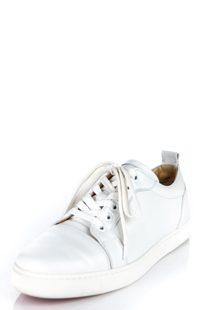check out 85283 5c982 Christian Louboutin White Leather Louis Junior Low-Top Sneakers Size 8.5 |  EU 38.5 [20% OFF]