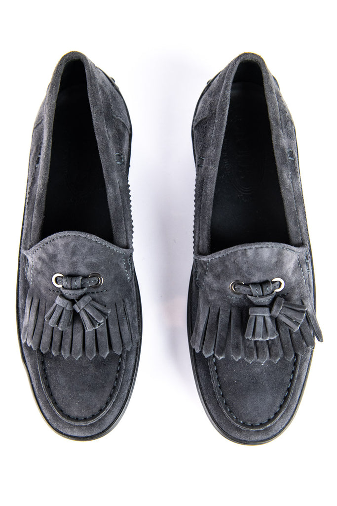 Tod's Gray Suede Fringe Tassel Loafers New Size 8.5 | IT 38.5 - OWN THE COUTURE