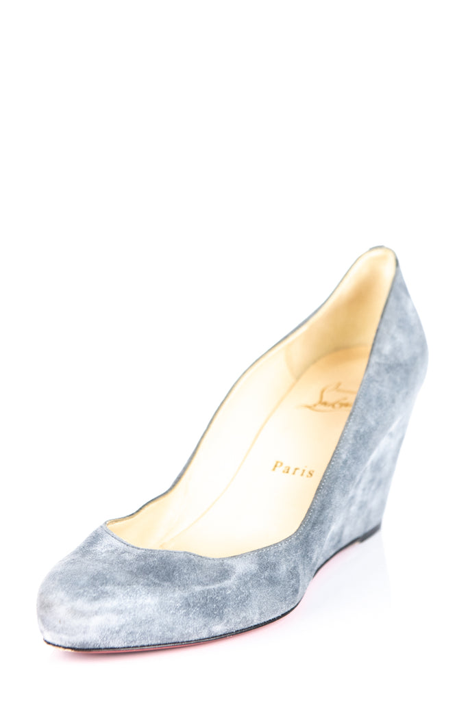 ac25d37fc2f ... Christian Louboutin Gray Suede Wedges Size 9