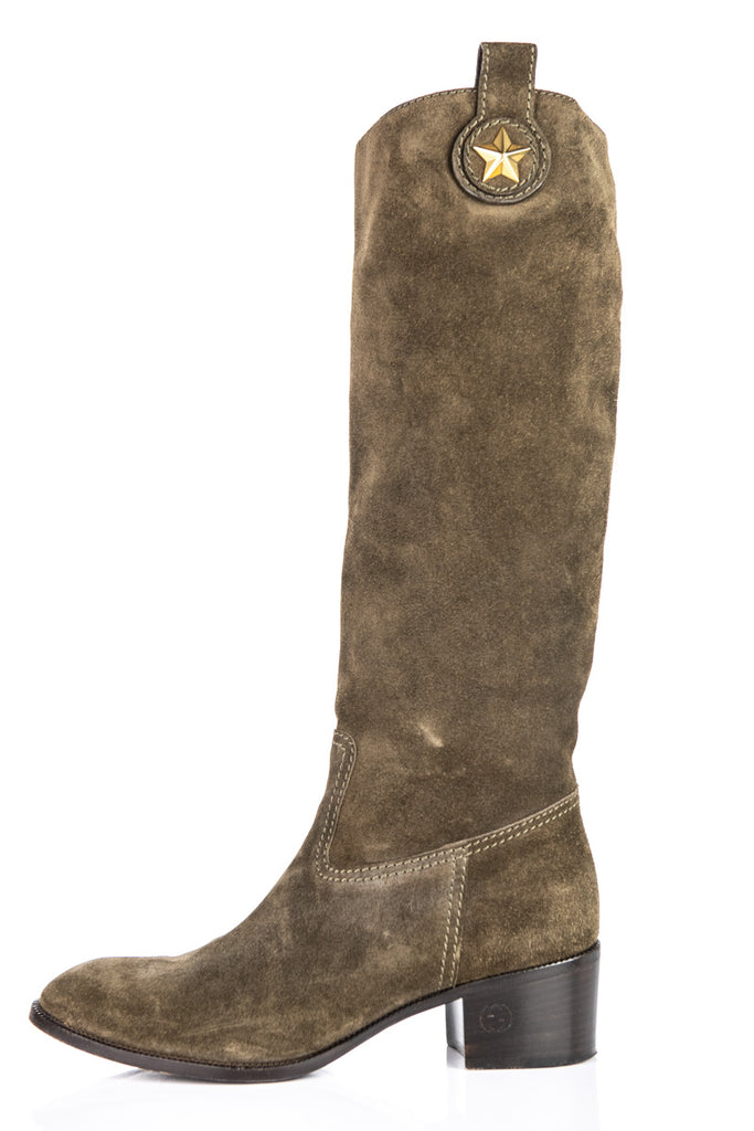 b940df40e ... Gucci Brown Suede Knee High Boots Size 8.5