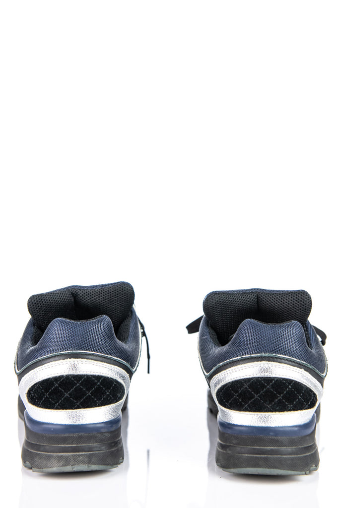 Chanel Navy And Silver Low Top Sneakers Size 9.5 | IT 39.5 - OWN THE COUTURE