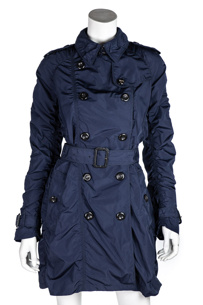 Burberry navy nylon ruched double breasted trench coat S | UK 10 - OWN THE COUTURE