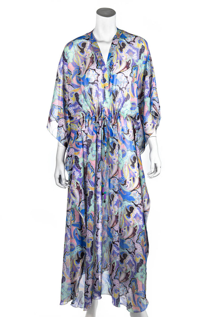 Etro Pink And Blue Paisley Chiffon Beach Cover Up Size S/M - OWN THE COUTURE