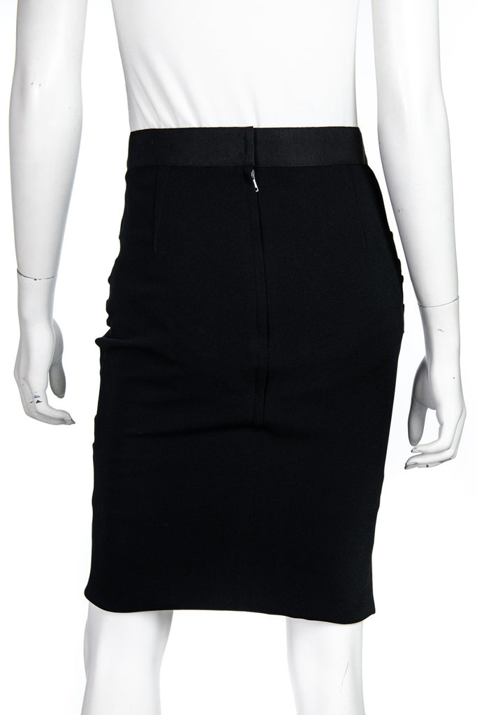 Dolce & Gabbana black ruched pencil skirt Size S | IT 42 - OWN THE COUTURE