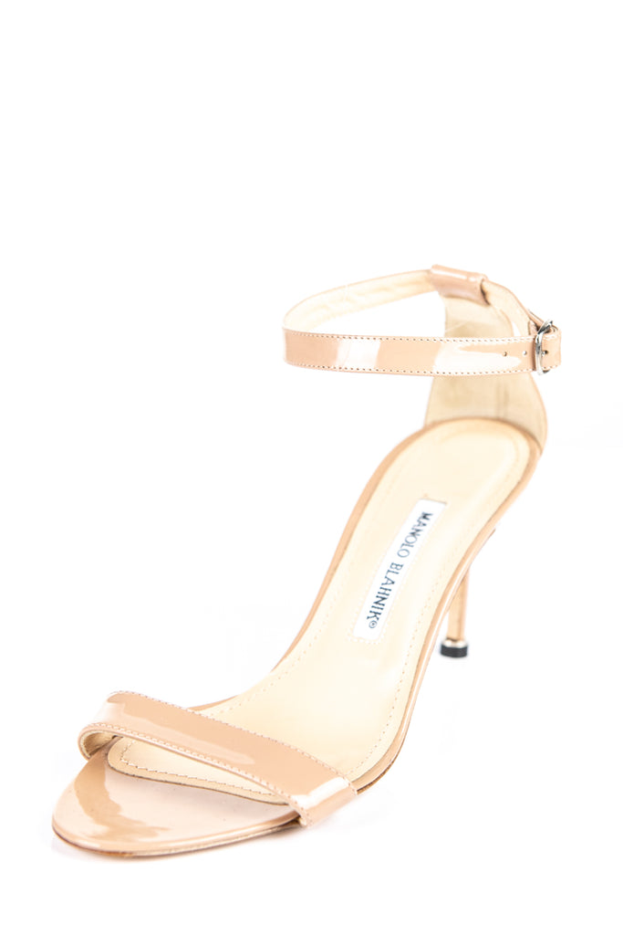 4f8fa9dc187 ... Manolo Blahnik nude patent leather Chaos sandals Size 8.5