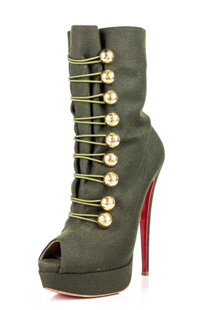 caca728c3b8d ... Christian Louboutin Green Woven Peep Toe Platform Ankle Boots Size 9