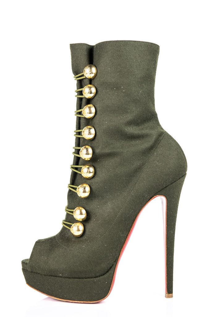 Christian Louboutin Green Woven Peep Toe Platform Ankle Boots Size 9 | EU 39 - OWN THE COUTURE
