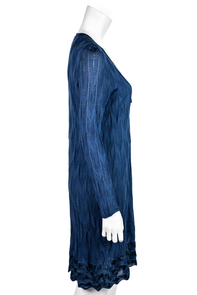 M Missoni blue knit lace up tunic dress L | IT 48 - OWN THE COUTURE