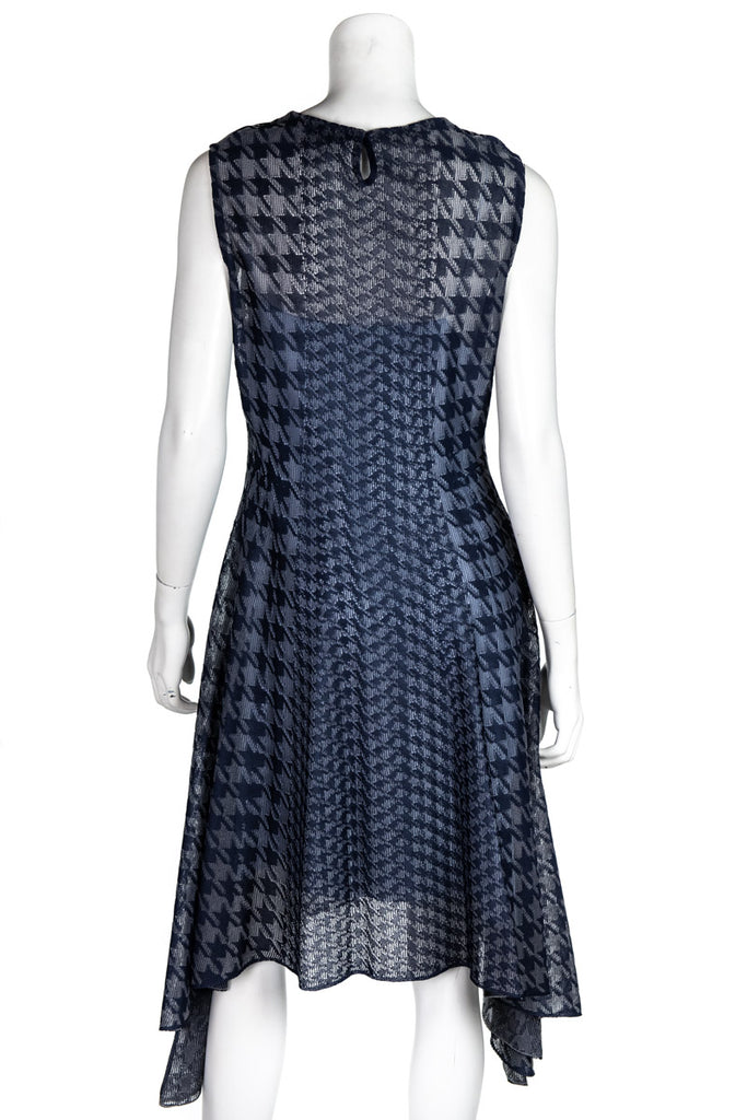 Christian Dior blue and grey houndstooth sleeveless knit dress Size L | FR 42 - OWN THE COUTURE