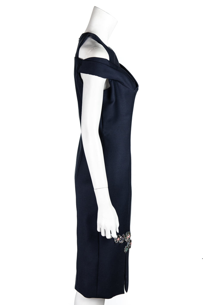 Christian Dior navy lace up embellished dress from Winter 2014 Size L | FR 42 - OWN THE COUTURE