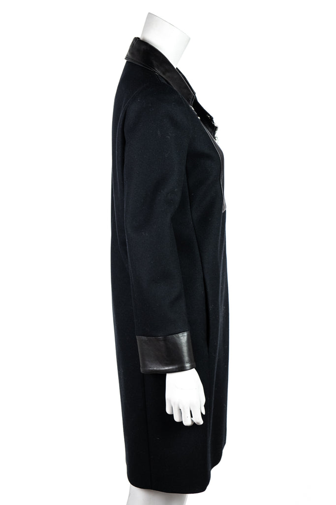 Gucci Black Wool and Leather Moto Coat New Size S | IT 42 - OWN THE COUTURE