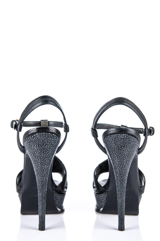 Yves Saint Laurent black leather and stingray platform sandals Size 8 | EU 38 - OWN THE COUTURE