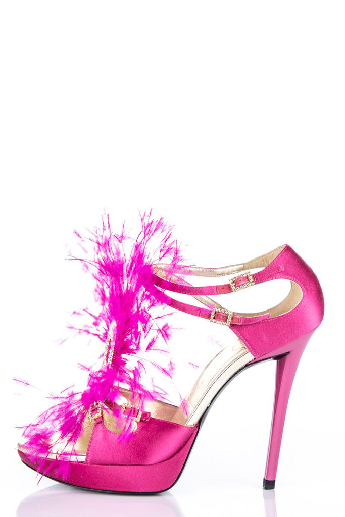 Roger Vivier pink feather and crystal embellished satin sandals New Size 9 | EU 39 - OWN THE COUTURE