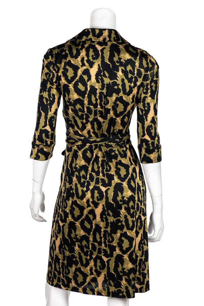 Diane Von Furstenberg Leopard Print Justin Wrap Dress Size XXS | US 2 - OWN THE COUTURE
