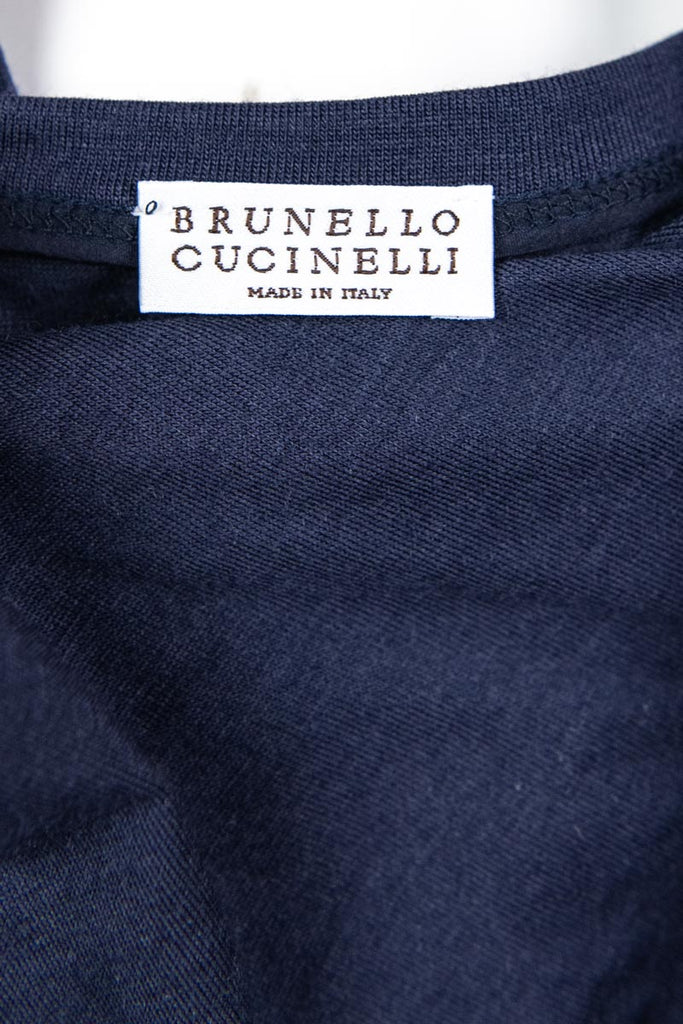 Brunello Cucinelli Navy Wool Jersey Belted Dress Size M | IT 44 - OWN THE COUTURE
