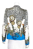 Roberto Cavalli Bird And Jewel Print Silk Jacket Size M | IT 44 - OWN THE COUTURE